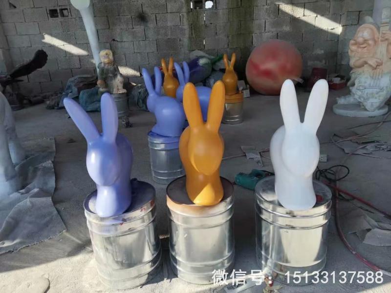玻璃钢抽象小兔子雕塑 草坪摆件彩色喷漆兔子6[1]