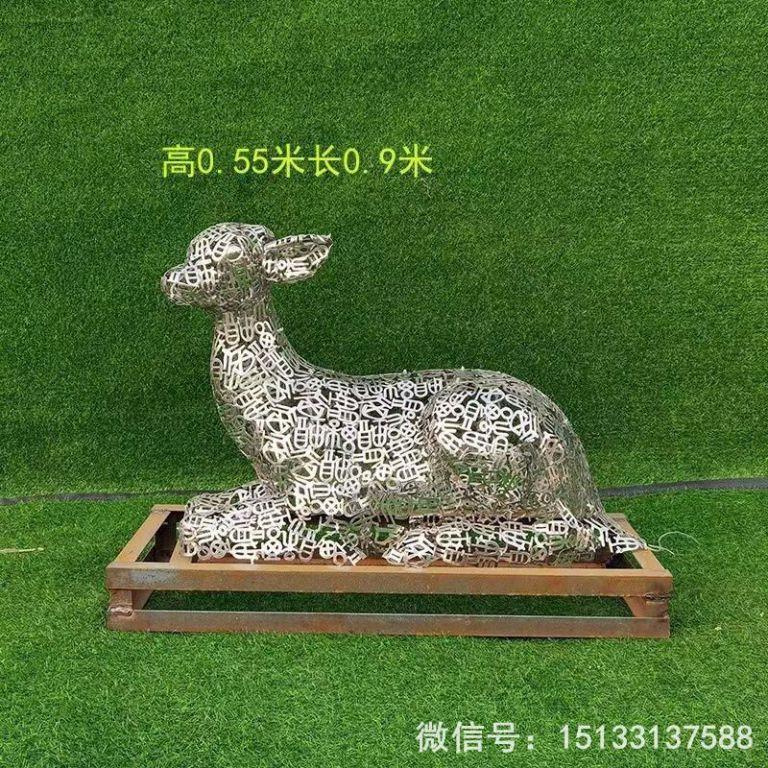 不锈钢各种姿态小鹿雕塑 景观小鹿雕塑