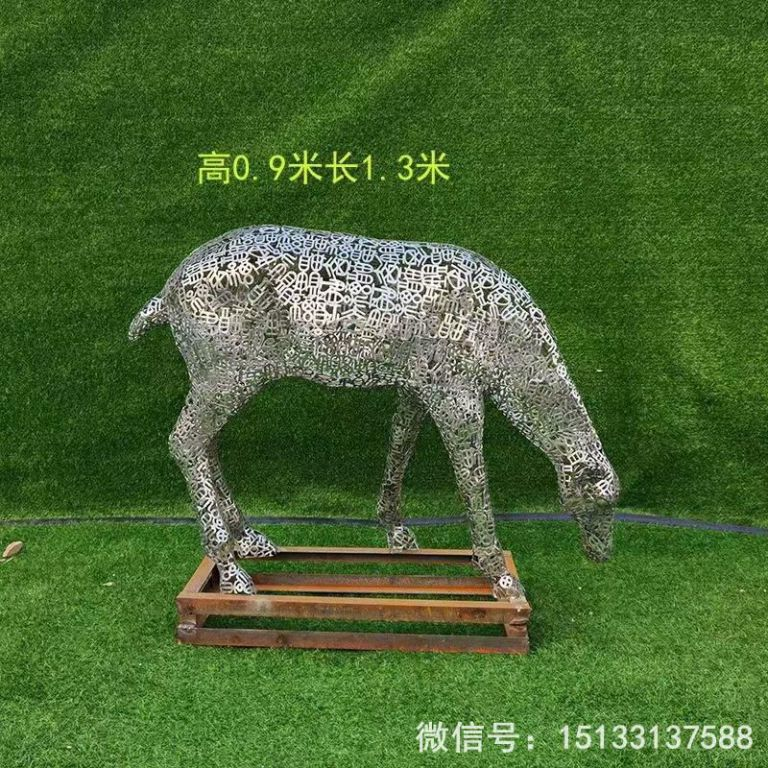 不锈钢各种姿态小鹿雕塑 景观小鹿雕塑2