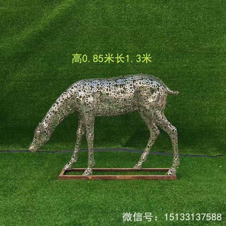 不锈钢各种姿态小鹿雕塑 景观小鹿雕塑1