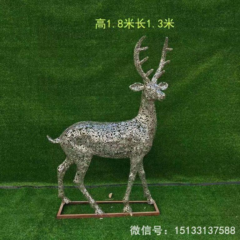 不锈钢各种姿态小鹿雕塑 景观小鹿雕塑4