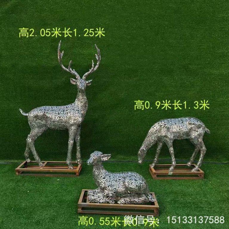 不锈钢各种姿态小鹿雕塑 景观小鹿雕塑5
