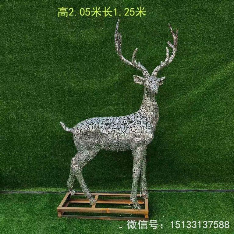 不锈钢各种姿态小鹿雕塑 景观小鹿雕塑3