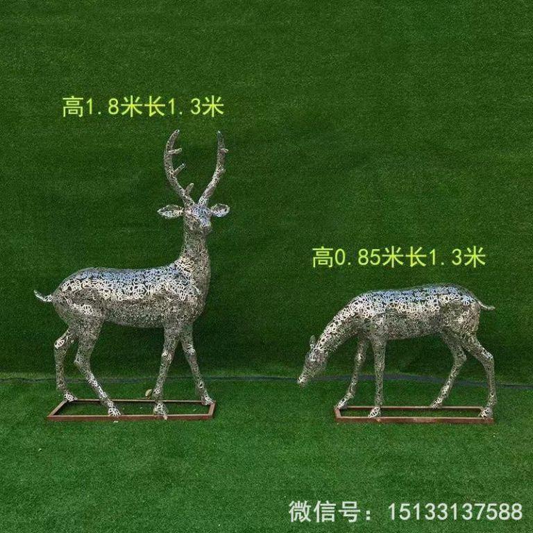 不锈钢各种姿态小鹿雕塑 景观小鹿雕塑6